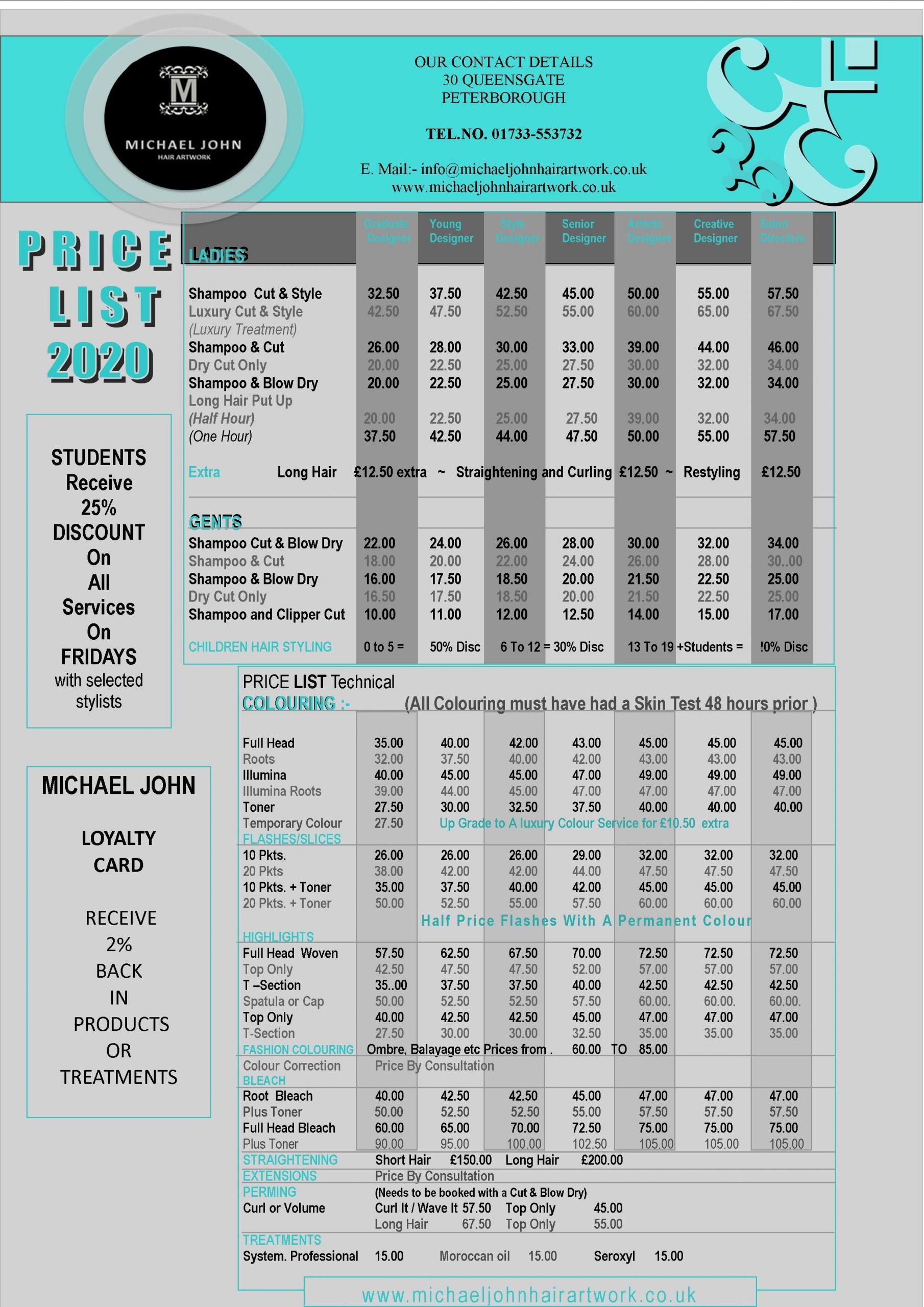 Price List Michael John Hair Artwork